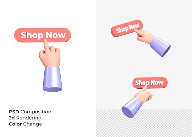 3d-rendering winkel nu cta-knop met hand concept