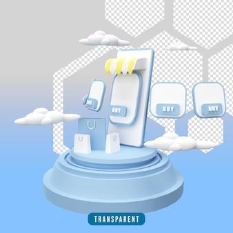3d-rendering winkelen online illustratie