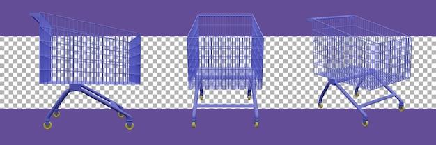 3d-rendering winkelwagen pictogram
