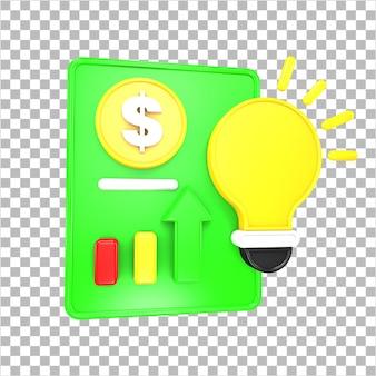 3d-rendering zakelijk en financieel 3d-object geïsoleerd