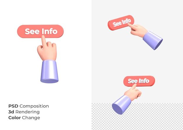 3d-rendering zie info cta-knop met hand concept