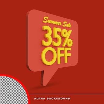 3d-rendering zomer verkoop korting aanbieding icoon