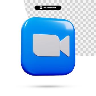 3d-rendering zoom logo applicatie geïsoleerd