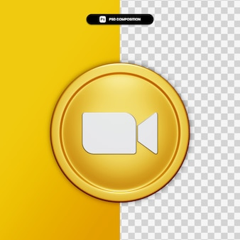 3d-rendering zoompictogram op gouden cirkel geïsoleerd