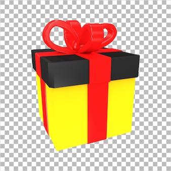 3d-rendering zwart en rood verrassing geschenkdoos geïsoleerd