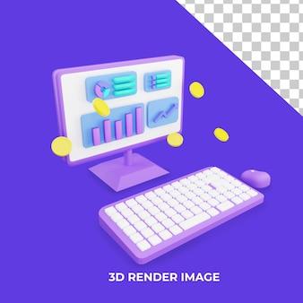 3d-renderingcomputer met verhoogd verkeersconcept