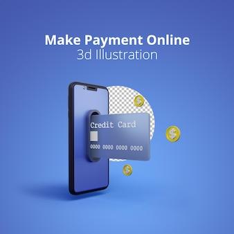 3d-renderingconcept creditcards komen uit mobiele telefoons voor online betalen
