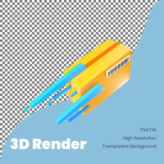 3d-renderingdoos bij leveringspictogram voor e-commerce
