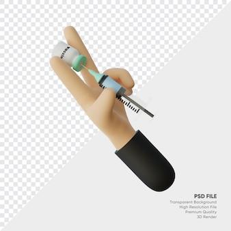 3d-renderingo van handen met medische spuiten en vaccinflessen