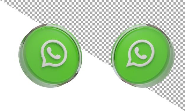 3d renderizado icono de vidrio logo whatsapp isométrico