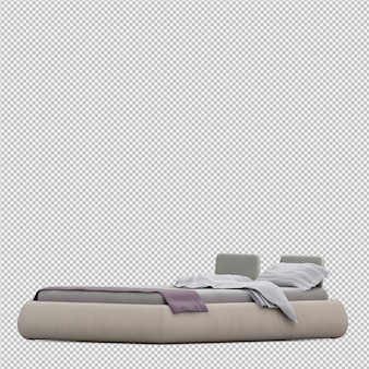 3d rendono del letto isometrico