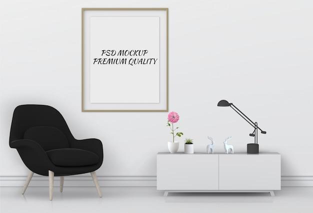 3d rendono del manifesto in bianco del manifesto interno vivente della stanza.