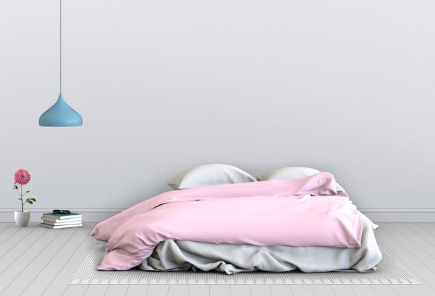 3d rendono della camera da letto interna con le decorazioni.
