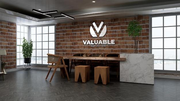 3d restaurant of bar logo mockup met bakstenen muur