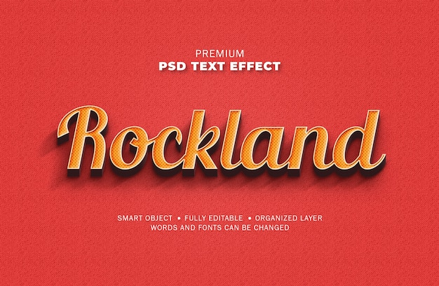 3d retro vintage rood geel teksteffect dot textuur stijl