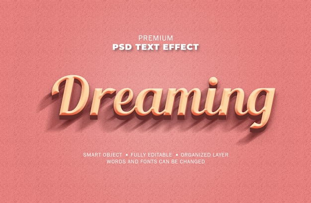 3d retro vintage roze teksteffectstijl