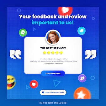 3d-review van klantenfeedback of testimonial social media instagram-postsjabloon met mockup