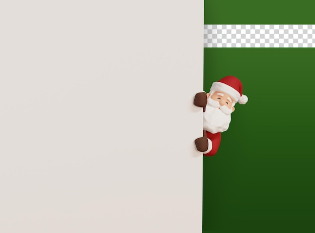 3d rinden la ilustración del concepto de navidad santa que se escabulle en la pared en blanco
