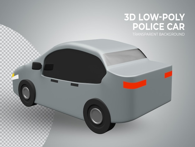 3d rindió lindo coche de juguete de baja poli volver vie