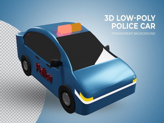 3d rindió la vista superior del coche de policía azul de baja poli