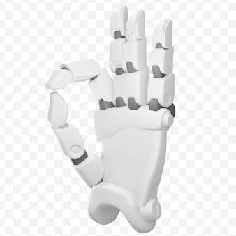 3d robothand die ok het gebaar van het handteken uitstekende baan geïsoleerde 3d illustratie tonen