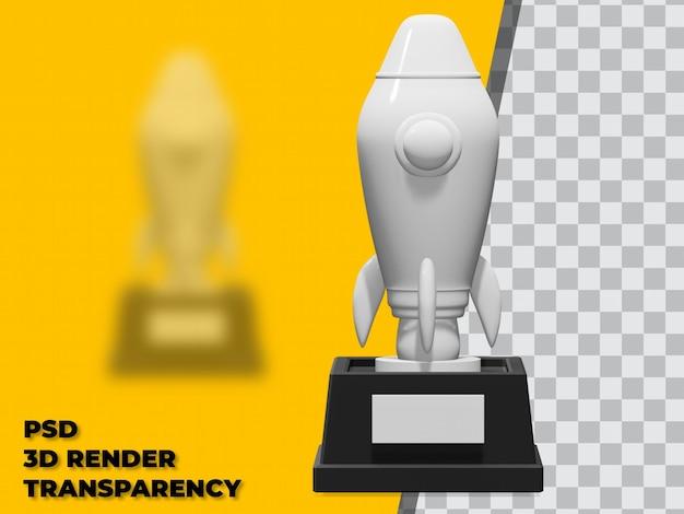 3d rocket trophy met transparante achtergrond