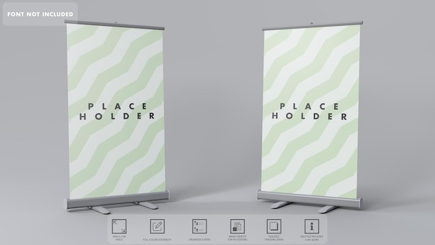 3d roll-up banners mockup