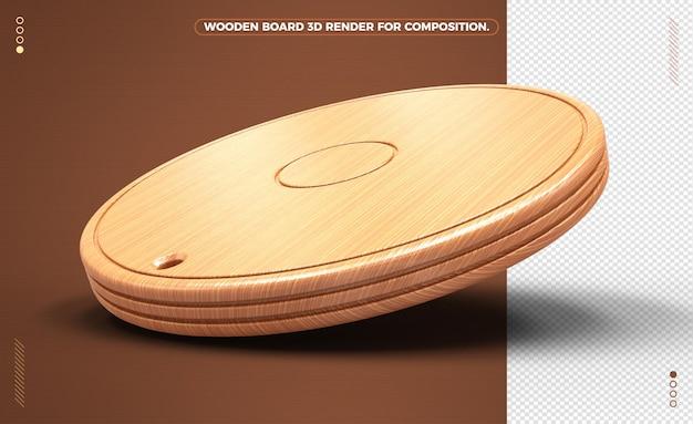 3d ronde lichtgele houten plank geïsoleerd