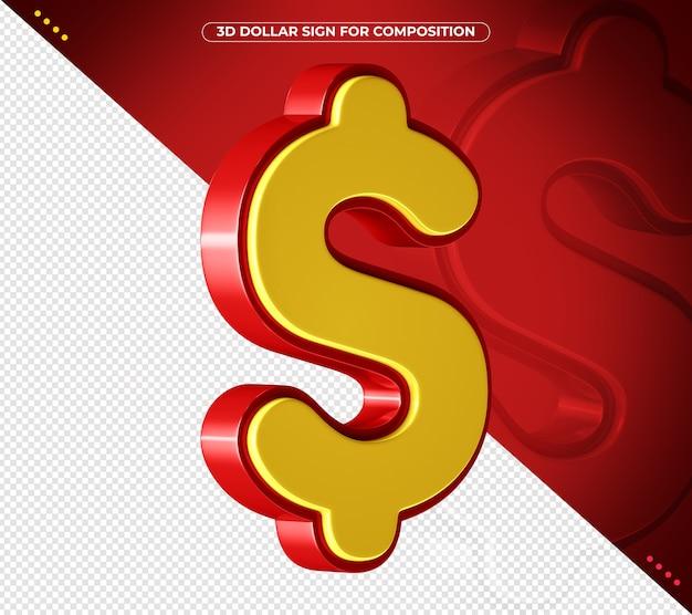 3d-rood en geel cijfer voor compositie