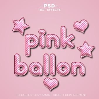 3d roze ballon teksteffect