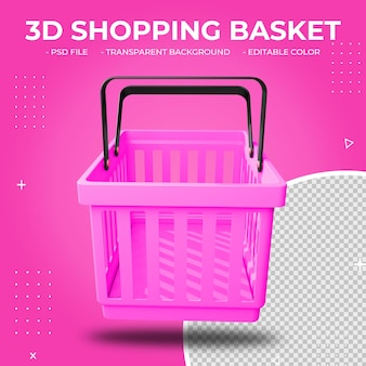 3d roze plastic geïsoleerde winkelmand