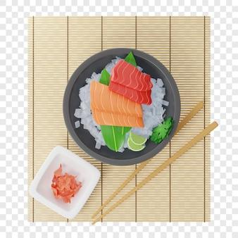 3d sashimi met tonijn en zalm op bamboeblad in plaat vol ijs op een bamboemat in de buurt van eetstokjes