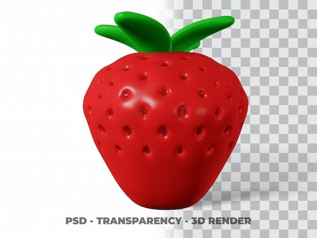 3d schattige aardbei met transparante achtergrond