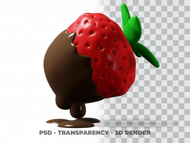 3d schattige aardbeienchocolade met transparante achtergrond