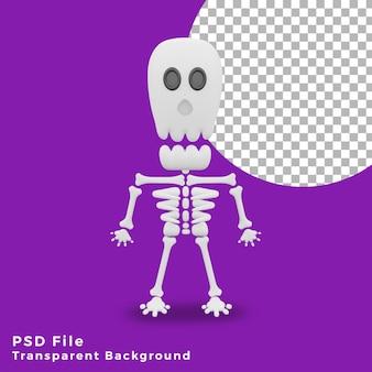 3d schedel eng halloween karakter activa pictogram ontwerp illustratie hoge kwaliteit