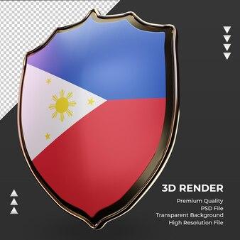 3d-schild filipijnen vlag rendering juiste weergave