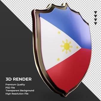 3d-schild filipijnen vlag weergave linker weergave