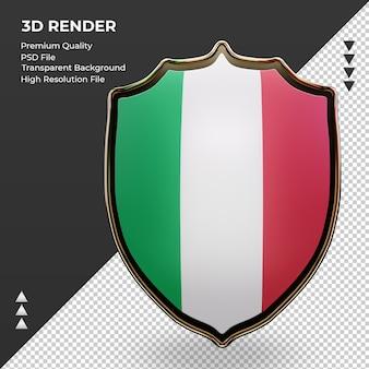 3d-schild italië vlag rendering vooraanzicht
