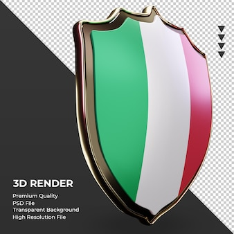 3d-schild italië vlag weergave linker weergave