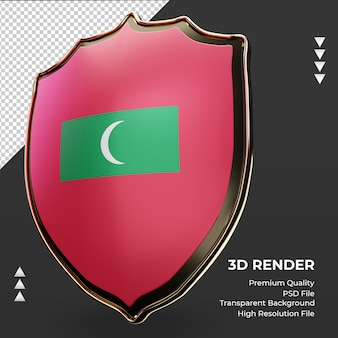 3d-schild maldiven vlag rendering juiste weergave