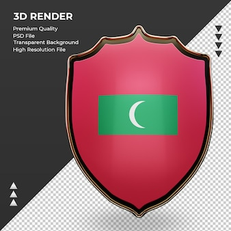 3d-schild maldiven vlag rendering vooraanzicht