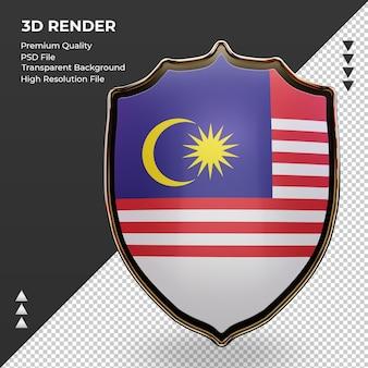 3d-schild maleisië vlag rendering vooraanzicht
