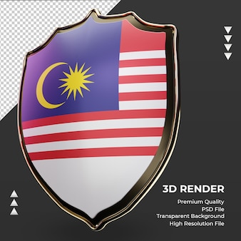 3d-schild maleisië vlag weergave juiste weergave