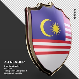 3d-schild maleisië vlag weergave linker weergave