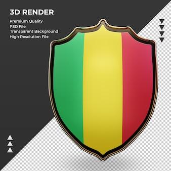 3d-schild mali vlag rendering vooraanzicht