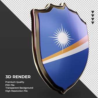 3d-schild marshalleilanden vlag rendering linker weergave