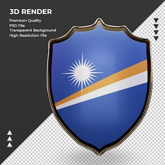 3d-schild marshalleilanden vlag rendering vooraanzicht