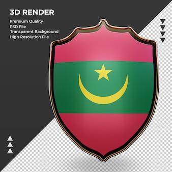 3d-schild mauritanië vlag rendering vooraanzicht