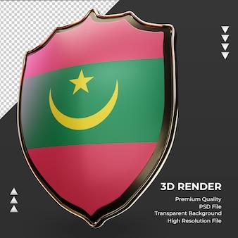 3d-schild mauritanië vlag weergave juiste weergave