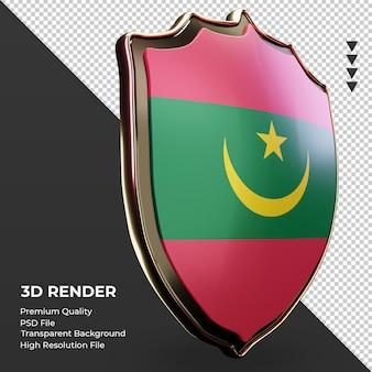 3d-schild mauritanië vlag weergave linker weergave